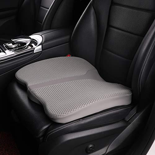 KINGLETING Auto Booster Sitzkissen, Memory Foam Sitzkissen, rutschfest und atmungsaktiv, für Auto, SUV, LKW, Bürostühle und Rollstühle (Grau)