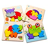 SKYFIELD Wooden Toddler Puzzles, Gift Toys for 1 2 3 Years Old Boys &Girls, Baby Educational Toys with 4 Animals Patterns, Bright Vibrant Color Shapes, Customize Gift Box Packed Ready (Animal)