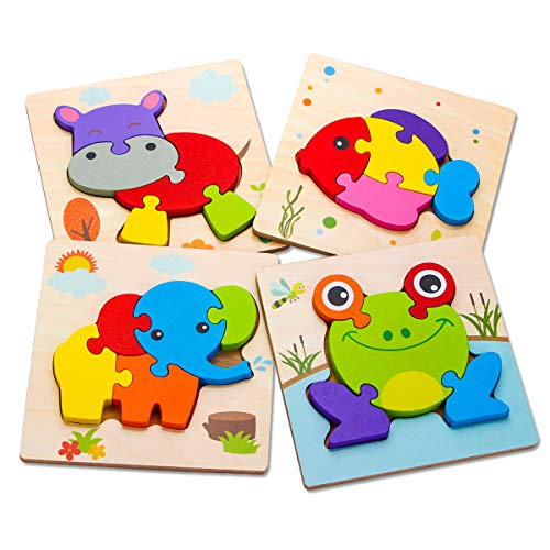 SKYFIELD Wooden Animal Toddler Puzzles for 1 2 3 Years Old Boys & Girls, Baby STEM Educational Toy Gift with 4 Animals Montessori Bright Color Shapes Learning Puzzles,Great Gift Ideas for 1-3
