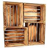 CHICCIE 4 Set Geflammte Obstkisten - 50 x 40 x 30cm Holzkisten Weinkisten Holz Kisten Apfelkisten Obstkiste Gebrannt