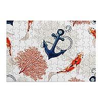 98ピース ジグソーパズル 鯉と海洋生物 木製パズル 子供の知育玩具 親子お楽しみ (20x29cm)