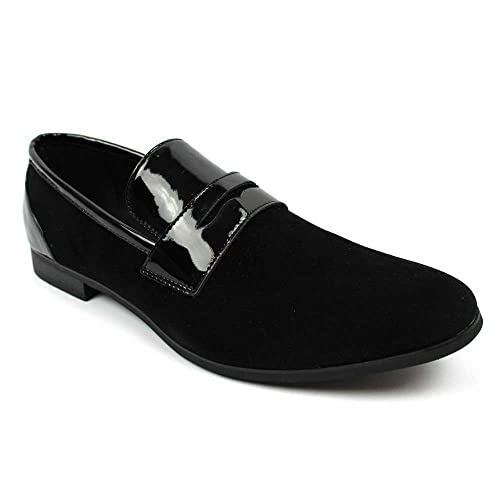 Tuxedo Black Suede Patent Leather Slip On Loafer Modern Bradley Dress Shoes by Azar