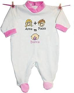 """Zigozago - Tutina""""MAMMA + PAPA'= IO"""" personalizzata con nomi"""