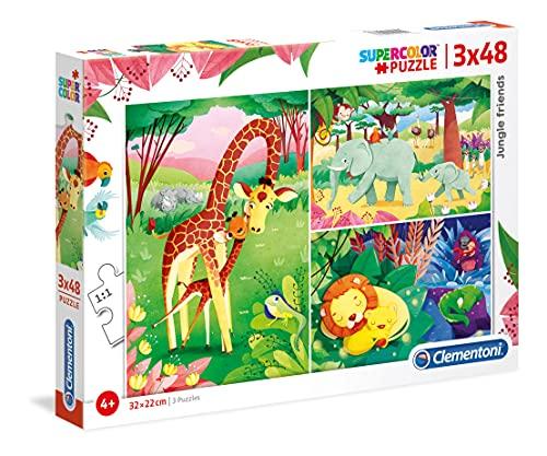 Clementoni Supercolor Puzzle-Animali savana-3 x 48 pezzi, Multicolore, 25233