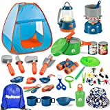 Meland Kids Camping Set with Tent 42pcs - Camping Gear Toy with Pretend Play Tent Outdoor Toy for Toddlers Birthday Gift