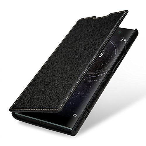 StilGut Book Type, Leder-Hülle kompatibel mit Sony Xperia XA2 Ultra, Schwarz