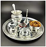 NOBILITY Premium Silver Plated Puja Thali Set 08 Inch with German Silver Coin Pooja Thali Set Items