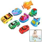 Xrten 8 Pcs Juguetes de Baño Fotante de Goma para Bebé Niños - Autos de...