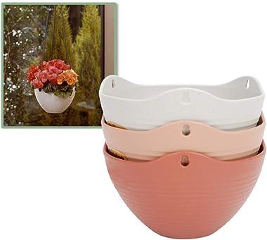 lulalula Lot de 4 pots de fleurs ronds à suspendre avec auto-arrosage pour plantes d'intérieur ou d'extérieur - Avec