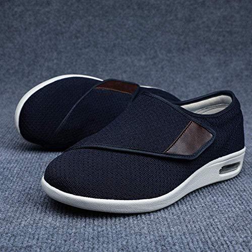 B/H Calzado Interior Antideslizante para DiabéTicos,Agregar Fertilizante para ensanchar los Zapatos Casuales para Caminar, Zapatos Ajustables con Velcro-Azul_44,Zapatos para DiabéTicos para Edema