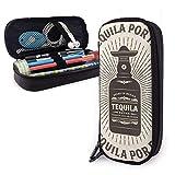 Vintage Mas Tequila Por Favor Tipografía Estuche para lápices Estuche para lápices de gran capacidad Organizador de papelería con cremallera para la escuela, Estuche de maquillaje multifunción