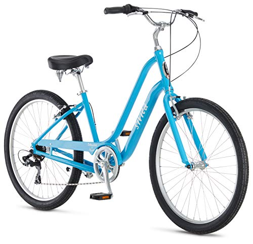 Schwinn Sivica 7 Cruiser Bike for Women with 26-Inch Wheels in Blue, 7-Speed Shimano Drivetrain and Aluminum Step-Through Frame