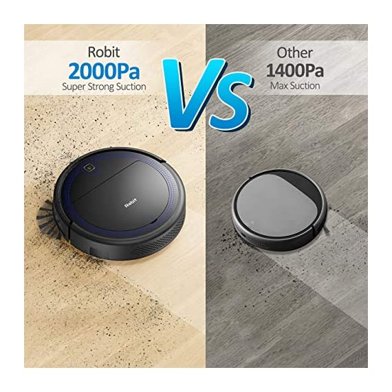 """Robit V7S PRO Robot Vacuum Cleaner, Upgraded 2000Pa Strong Suction, Ultra-Thin, Drop Sensor, Quiet, Self- Charging… 3 🐱 Enhanced 2000Pa Strong Suction: With the most advanced powerful motor, Robit V7S Pro Robot Vacuum has a 2000Pa intense suction, easily picking up dust and hair even from hard floor and carpet.3 Stage Cleaning System provided meets any various demands, you can choose whichever you like. 🐶 Slim Body & Super Quiet: Applying unique High quality Nidec brushless motor, this robot vacuum cleaner is endowed with mini noise while cleaning, so you can enjoy yourself with no disturbance. Only 3.1"""" height makes it easy to freely glide under the bed, the sofa or the table , and all the hidden dust can be swept away. 🐹 Schedule a Cleaning : Delivered by a Time Reservation, this robot vacuum pet can work perfectly as scheduled and multiple cleaning modes generates a customized cleaning routine."""