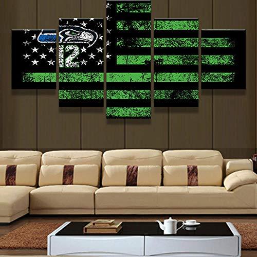 BURY Kunstdruck Wohnzimmer 5 teilig leinwandbilder Bild Moderne Dekoration Wandbild Bild XXL Format fertig gerahmte Bilder 5 Teile Seattle Seahawks 12. Flagge 150x80 cm