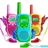 Waka Waka Walkie Talkies for Kids Outdoor Games – 3 Walkie Talkie Kids Toys & Matching Bandanas, Whistles – Two Way Radios with 1.86 Mi. (3 Km.) Range, 22 Channels, 38 Privacy Codes, Unisex Ages 3+