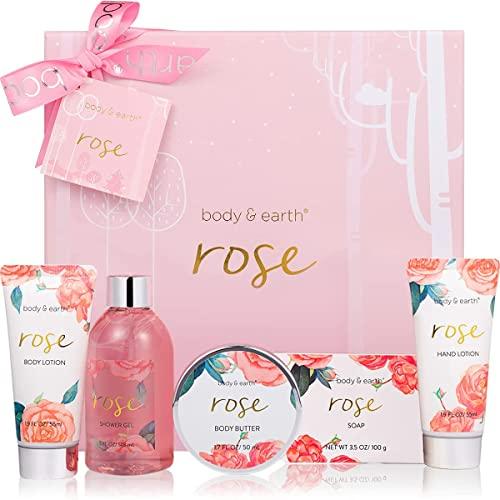 Geschenkbox für Frauen, Body&Earth Rose 6-tlg. Geburtstagsgeschenk für Frauen mit Duschgel, Körperbutter, Handcreme, Körperlotion,Bad Set Frauen Geschenk Geschenkset Frauen, Körperpflege Damen
