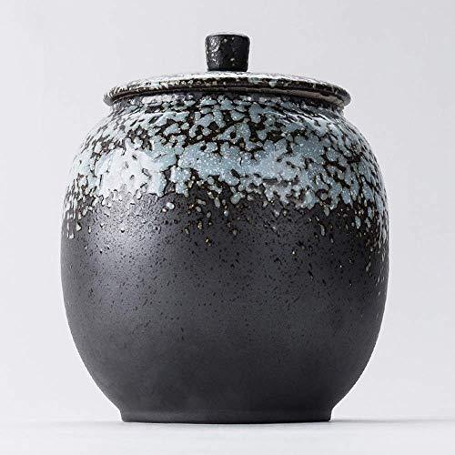 AZWE Feuerbestattungs-Urnen , Andenken-Bestattungs-Urne für menschliche Asche Keramikofen-Bestattungs-Asche, große Kapazität,Blau