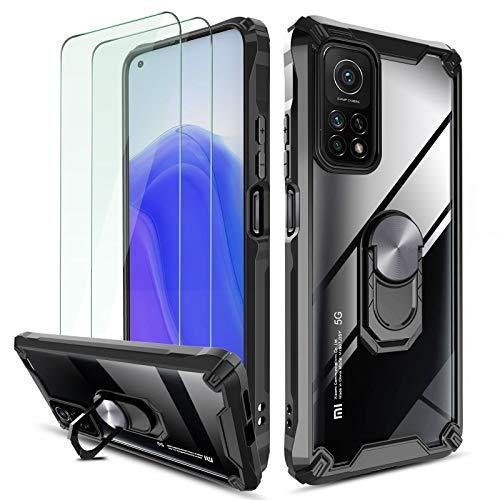 QHOHQ Funda para Xiaomi Mi 10T/10T Pro 5G con 2 Pack Protector de Pantalla,[360° Giratorio Soporte] [5X Grado Militar Anti-caída Protección],Espalda Transparente Rígida para PC,Bordes TPU Suave-Negro