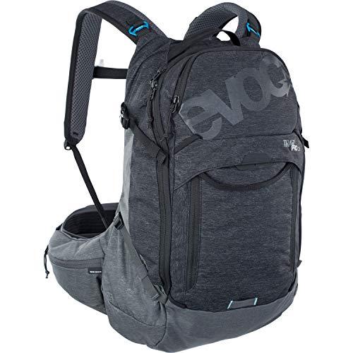 EVOC TRAIL PRO 26l Protektor Rucksack für ausgiebige Fahrradtouren (Größe: L/XL, LITESHIELD PLUS Rückenprotektor, extrem leicht, breite Hüftflossen, 3l Trinkblasenfach), Schwarz / Carbon Grau