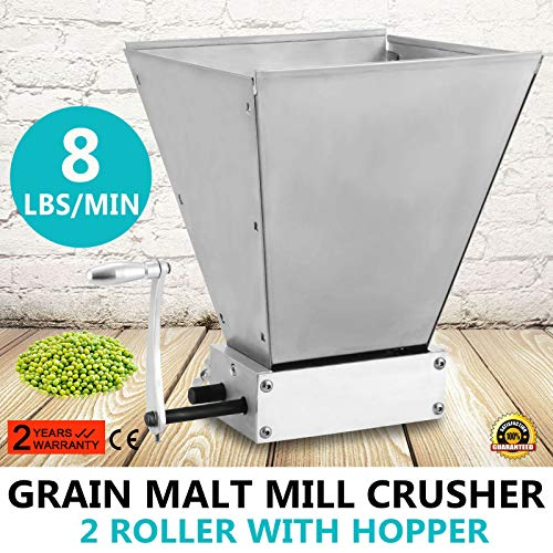 Happybuy Malt Mill Homebrew 2-roller Barley Grinder Crusher Manual Adjustable Barley Malt Grain Mill for Homebrewing