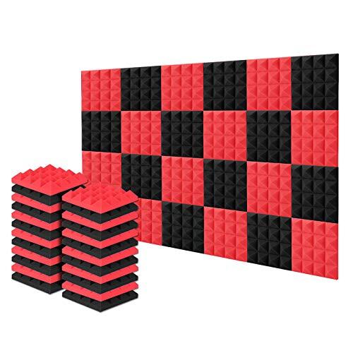 Acolchado Insonorizado, AGPtEK 24 Paquetes de Espuma Insonorizadora 25x25x5CM Paneles de Espuma Acústica Azul y Negra, Ideales para Grabar en Estudios, Salas de TV, Habitaciones de Niños