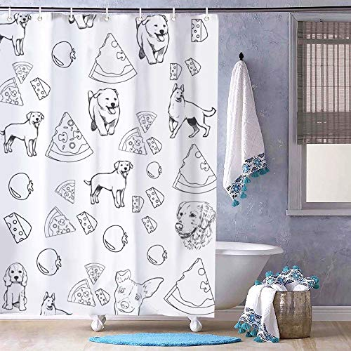 Free Brand Duschvorhang mit Pizza-Motiv, geruchlos, aus Stoff, für Badezimmer, Duschkabine, Badewannen, wasserdicht, 183 x 183 cm