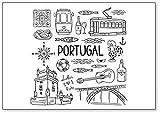 Imán para nevera con diseño de símbolos e iconos de Portugal