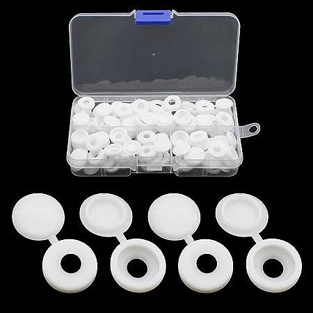 JaneYi - 100 tapas para tornillos de plástico, tapa de rosca, cierres de rosca, con caja para muebles, armarios y armarios