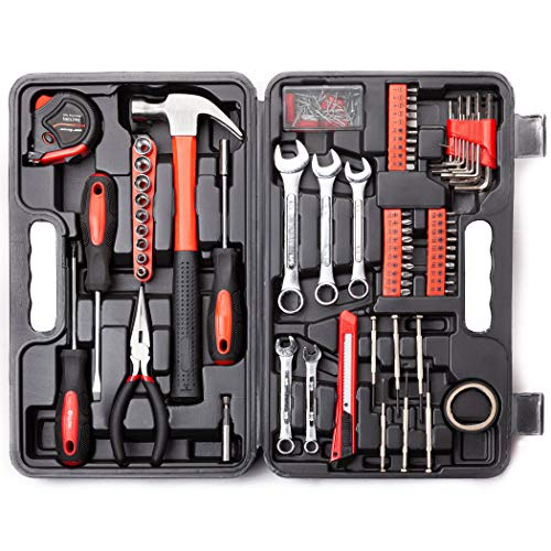 Cartman 148-Piece Tool Set - General Household Hand Tool Kit with Plastic Toolbox Storage Case, Socket & Socket Wrench Sets