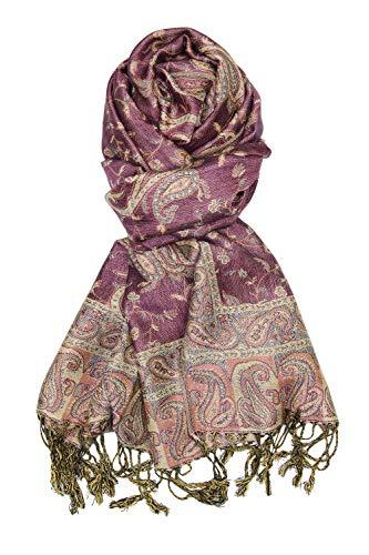 Violet Soft Silky Paisley Pashmina Shawl Wrap Scarf Stole w/Fringes 80