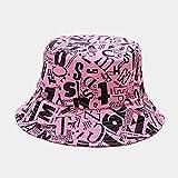 AOQW Sombrero De Pescador Sombrero De Cubo De Verano Mujer Letras En Inglés Doble Cara Algodón Reversible Gorra De Protección Solar Sombrero De Panamá para Hombre-Rose_Red