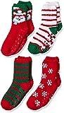 Amazon Essentials Girl's 4-Pack Slipper Socks, Fox, XS/S