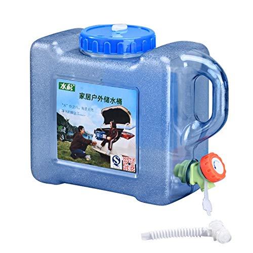 Groust Bidón de agua de 5 L/12 L, cubo portátil para el coche, con asa y grifo de vaciado fijo, sin BPA, depósito de agua para vehículos, camping, exteriores, viajes largos