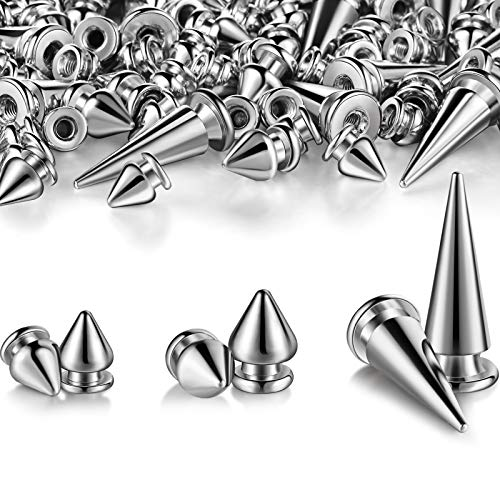 170 Pieces Multiple Sizes Cone Spikes Screwback Studs Rivets Large Medium Small Metal Tree Spikes Studs for Punk Style Clothing Accessories DIY Craft Decoration (Silver)