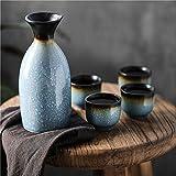 HaoLi Juego de Sake de Estilo japonés, Juego de dispensador de Vino de cerámica (Frasco X1, Copa de Vino X4)