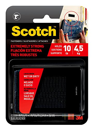 Scotch Mounting, Fastening & Surface Protection RF9731 Interlocking Fasteners 1 in x 3 in, Strips, 4, Black, 10 lbs, (1 set holds 2 lbs)