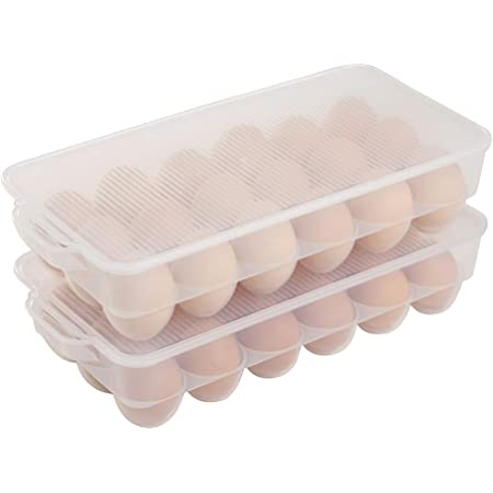 Aebeky 2 Pack Plastic Egg Holder with Lid,Egg Storage Container for Refrigerator,Fits 36 Eggs,Clear