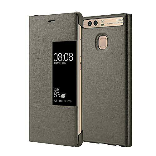 MOONCASE Funda Carcasa Cuero Tapa View Case para Huawei P9 Plus Gris