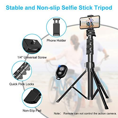 Handy Stativ 142 cm Erweiterbar, Cocoda Selfie Stick Stativ mit Bluetooth-Fernbedienung, Stativbeine Kompatibel mit iPhone 12 Pro Max, 12 Mini, 11 Pro Max, Samsung S20 Ultra, Gopro Action Kamera