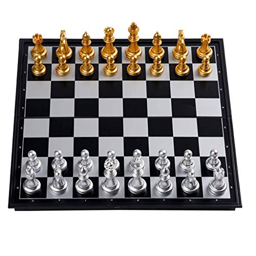Yxxc Chess Board Plastic Chess Magnetic Travel Chess Set with Board That Becomes a Storage Compartment Great Travel Toy Set with Folding Chess Board Chess