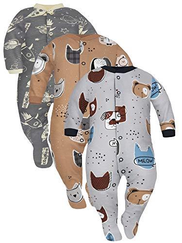 Sibinulo Jungen Mädchen Baby Schlafstrampler mit rutschfest, Kleinkind 9-12 Monate Babykleidung Set 3er Pack Graue und beige Tiere, Kosmos 80