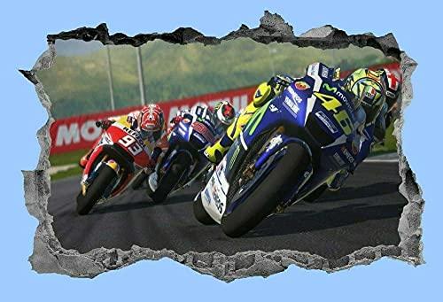 3D Pegatinas Pared Decorativas Motorbike Pegatinas Decorativos Wall Stickers Para Hogar Dormitorio Oficina 15x23inch(40x60cm)