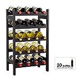 HOMECHO Bamboo Wine Rack, Floor Wine Storage Rack, 20 Bottles Holder, Freestanding Display Rack for...