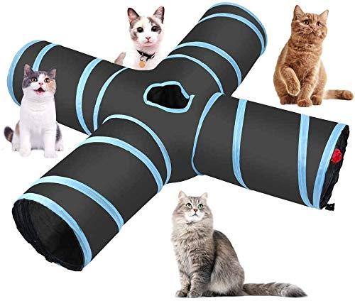 Katzenspielzeug Katzentunnel, 4-Wege-Katzentunnel, Katze Spielzeug Hundenspielzeug Spieltunnel, Geräumig und Reißfest Play Tunnel Tube für Katze, Welpe, Kitty, Kätzchen, Kaninchen