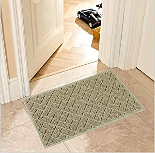 ECO MATRIX Large Doormats Entrance Floor Mat Non-Slip Dirt Trapper Door Mat Washable Carpet Rug Durable Patio Turf for Indoor Outdoor (75x43cm, Beige)