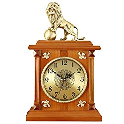 Desk Clock .1 Table Clock Living Room Decor Battery Operated Mantel Clock European Retro Bedroom Non-Ticking Silent Quartz Creative Brass Lion Decoration Wooden .2