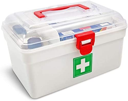 ABIR Enterprise First Aid Box Lockable Medicine Storage Box Plastic Emergency Cabinet Organizer with Detachable Tray and Handle Portable First Aid Organizer for Home Camping Travel and Car multicolor
