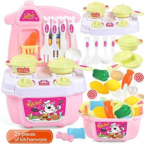 DIVISTAR Juguetes de cocina Simulación Utensilios de cocina Vajilla Juego Juego Mini Juego de rol Cocina Casa Educación Juguete Niños Regalos 21PCS - Rosa - 1 juego