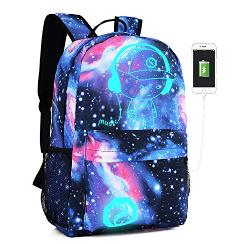 Lmeison Anime Luminous Backpack for Boy Girls, Waterproof Galaxy Bookbag with USB Charging Port and Lock &Pencil Case, 15.6'' Laptop Backpack Anti-theft Lightweight Travel Daypack for School