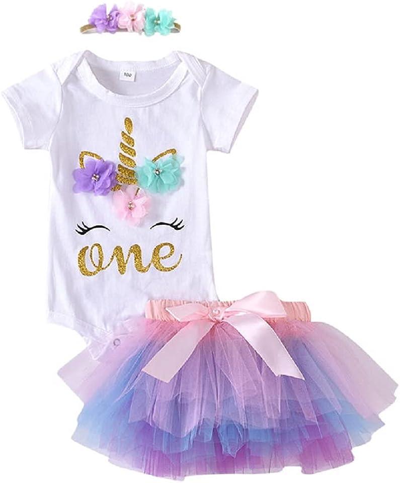 Baby Girl 1st Birthday Outfit 1 Year Newborn 4Pcs Unicorn Onesie Tutu Dress Headband Legging Socks Set Photo Props Clothes
